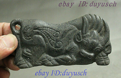 Chinese Collection Bronze Carved Feng Shui Strong Zodiac Bull Ox Amulet Pendant