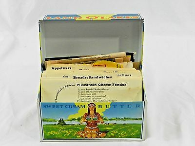 Vintage Land O' Lakes Butter Metal Recipe Box Recipe Cards Newspaper & Magizine