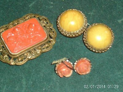 Antique Vintage Celluloid Jewelry Lot Belt Buckle Pins Old Beauties