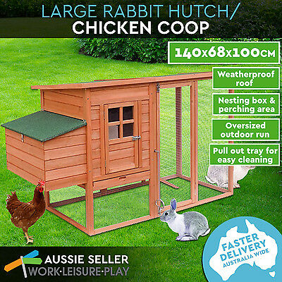 Brand New Large Chicken Coop Rabbit Hutch Cage Guinea Pig House 187.5X75.5X104CM