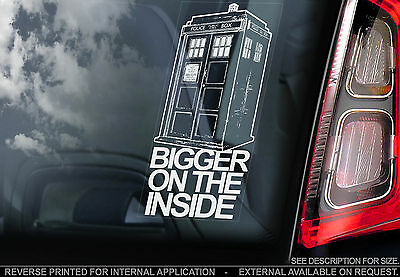 Doctor Who - Car Window Sticker - 'Bigger On The Inside' Tardis Sign Dr- n.Dalek
