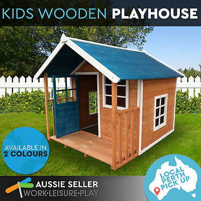 Stylish Blue Roof Cubby Wooden Outdoor Kids Playhouse with Veranda Perth Pick-Up