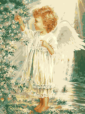 Large Paint By Number Kits S2 40*50CM DIY Angel Picking Flowers 8075 AU STOCK
