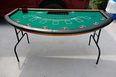 Black jack table premium quality casino style table, chips. card shoe, money box