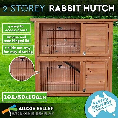 2 Storey Rabbit Guinea Pig Hutch Cage w/Tray Chicken Hen House Ferret Coop House