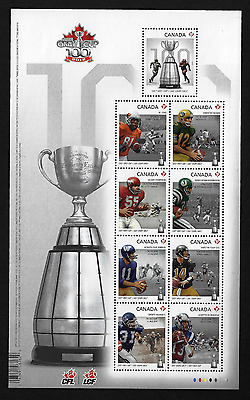 "Canada Stamps — Souvenir Sheet ""Embossed"" — CFL, 100th Grey Cup Game #2567 — MNH"