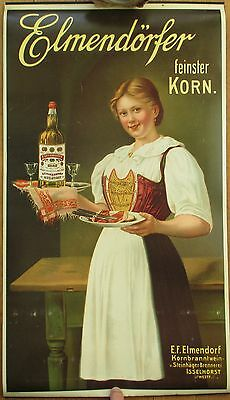 Liquor 1910 Advertising Poster: 'Elmendorfer' Corn Brandy - Color Litho w/Woman