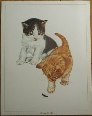 Kittens Playing w/Bug - E. Hoy/Artist-Signed 11x14 Print, 'Household Pets'