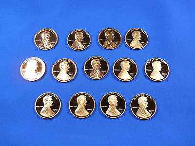2000-2009S Lincoln Memorial Anniversary Cent Penny Deep Cameo Proof 13 Coin Set!