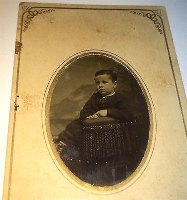 Antique Victorian American Civil War Era Young Boy Seated! Old Tintype Photo!
