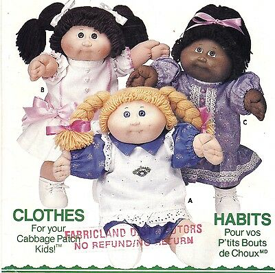 Butterick Pattern 6934 Cabbage Patch Kids Doll Clothes 3 Dresses Pinafore ©1984