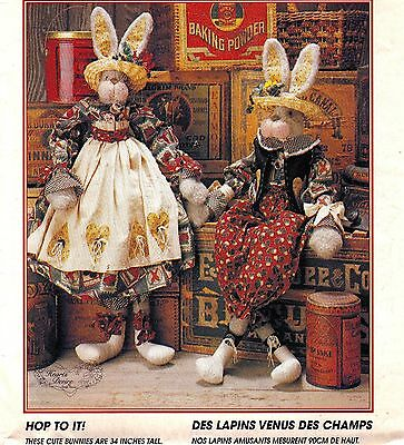 """Vtg 90s UC McCALL's CRAFTS Pattern #8035 / #749 Bunnies + Clothes 34"""" Greeters"""