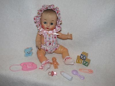"Sweet 8"" Vintage Molded Hair Baby Doll With Toys"