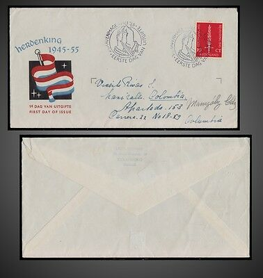 1955 NETHERLANDS FDC FLAMING SWORD - 10Th. ANNIV. OF NETHERLANDS' LIBERATION