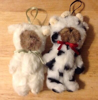 """Boyds Bears Plush Ornaments Cow And Sheep 4-4.5"""""""
