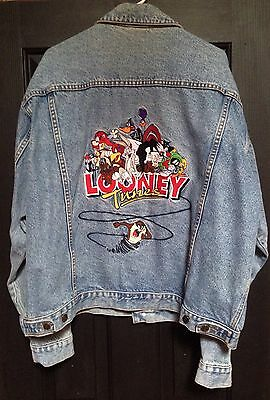 Vintage Warner Bros Brothers 1997 Looney Tunes Blue Denim Jean Jacket Xl