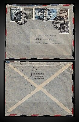 CHILE  3 NOVEMBER 1949 COVER FROM SANTIAGO - CHILE TO REGINA Saskatchewan CANADA