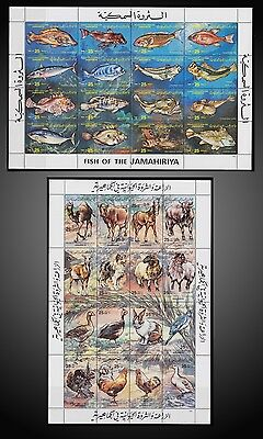 1983 Libya Farm Domestic Animals + Sea Fish Souvenirs Sheet Mint Never Hinged