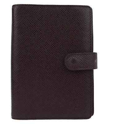 Auth LOUIS VUITTON Agenda PM Day Planner Note Book Cover Taiga R20416 03Y927