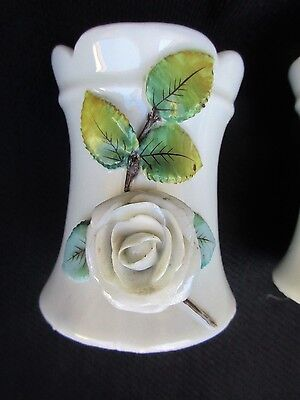 Antique Victorian vases with applied roses c-1870-1880,s