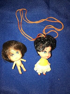 Vintage 2 Inch Little Brown Haired necklace Doll & Other Doll Hong Kong