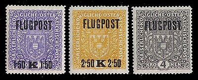 1918 Austria - First Airmail Issue - Complete Mint Never Hinged - White Paper