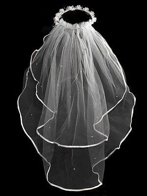 """Girls 1st Communion Wedding White Veil Layers Tulle Headpiece with Pearl 25"""""""