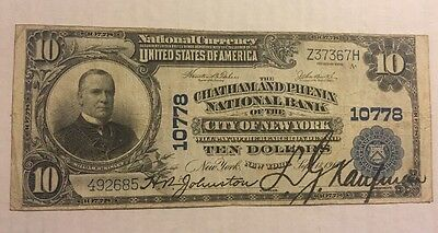 1902 $10 The Chatham & Phenix Nb Of New York, Ny National Currency