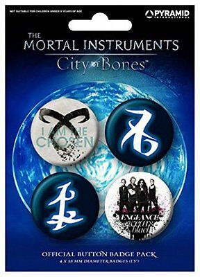 Official The Mortal Instruments City of Bones 4 x Button Pin Badges Pack