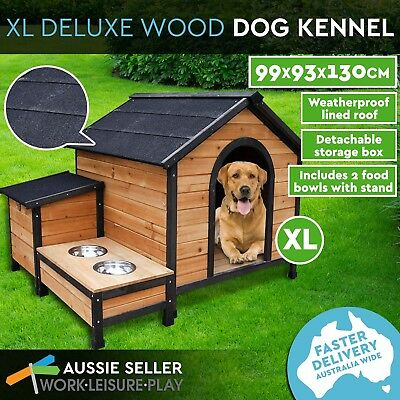 Extra Large Pet Dog Kennel Timber House Wooden Cabin Log Storage Box 2 Bowls