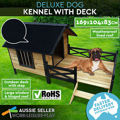 Extra Large Pet Dog Kennel Timber Deck House Wooden Cabin With Porch Deck Patio