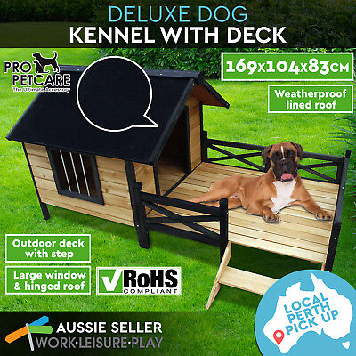 Pet Dog Kennel House w/ Patio Wooden Extra Large Timber Porch XL PERTH PICK UP