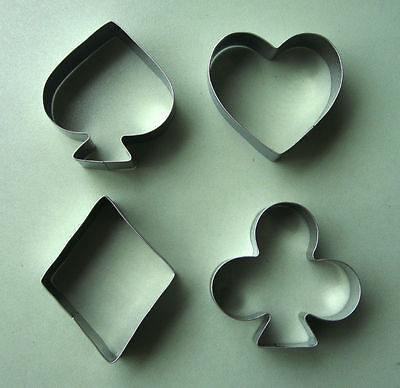 4 x Poker Cookies Cutter Steel Mould Cake Biscuit Pastry Baking Mold Sugarcraft