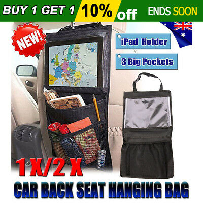 OZ 1x/2x Car Back Seat Storage Organizer Pocket Hang Hanging Bag PVC iPad Holder