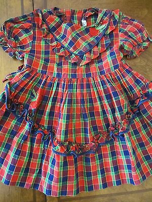 Vtg,Boutique Fluffy Ruffle Girls Dress Size 2,3,T Red Plaid,Cherries,Tie Back