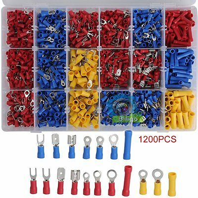1200pcs Assorted Insulated Electrical Wire Terminal Crimp Connector Spade Set