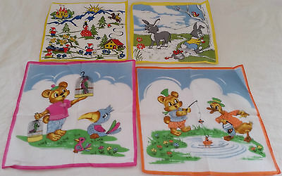 Vintage circa 1970s Set of 4 Asstd 100% Cotton Cartoon Printed Handkerchiefs #4
