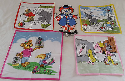 Vintage circa 1970s Set of 4 Asstd 100% Cotton Cartoon Printed Handkerchiefs #1