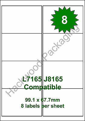 8 Labels per Sheet x 5 Sheets L7165 / J8165 White Matt Copier Inkjet Laser