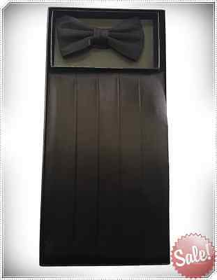 Bow Tie Silk Cumberbund Men Bowtie Set Matching Wedding Suit Tuxedo Black New