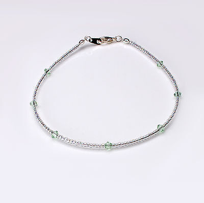 Green Swarovski Crystal Elements and Clear Seedbead Anklet