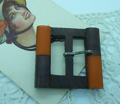Vintage Wooden Belt Buckle W/ Orange Plastic Detailing