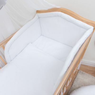 3 Piece Baby Bedding Set with Thick Bumper to fit 120x60cm Cot - Plain White