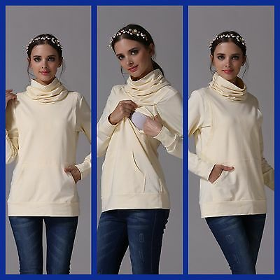 Bnwt Cream Maternity Nursing Breastfeeding Turtle Neck Jumper Top Size 10 12 14