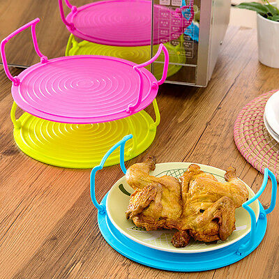 Microwave Folding Round Tray Double Plate Bowl Dish Holder Rack Cover Stacker