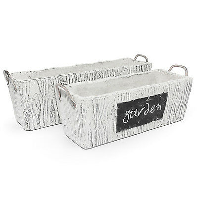 Rustic style rectangular flower pot ceramic planter, 2 sizes available