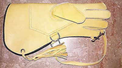 """Falconry Glove Yellow Nubuk 2 Layer 13"""" Glove With Line Clip Size M,L & XL YL-1"""