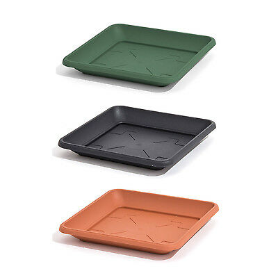 Plastic saucer TERRA SQUARE stand, pot, 6 sizes and 3 colours available