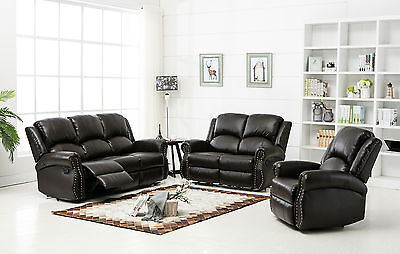 New Modern Westbury Bonded Leather Recliner Sofa Suite 3 , 2 , 1 Seaters - Brown