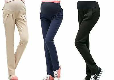 Maternity over the bump smart chino skinny work trousers black size 8 10 12 14